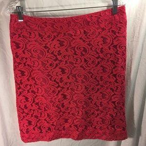 Merona skirt bright pink lace. Size 10